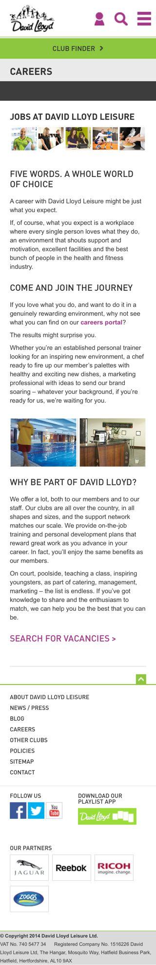 David Lloyd Leisure's mobile responsive candidate portal