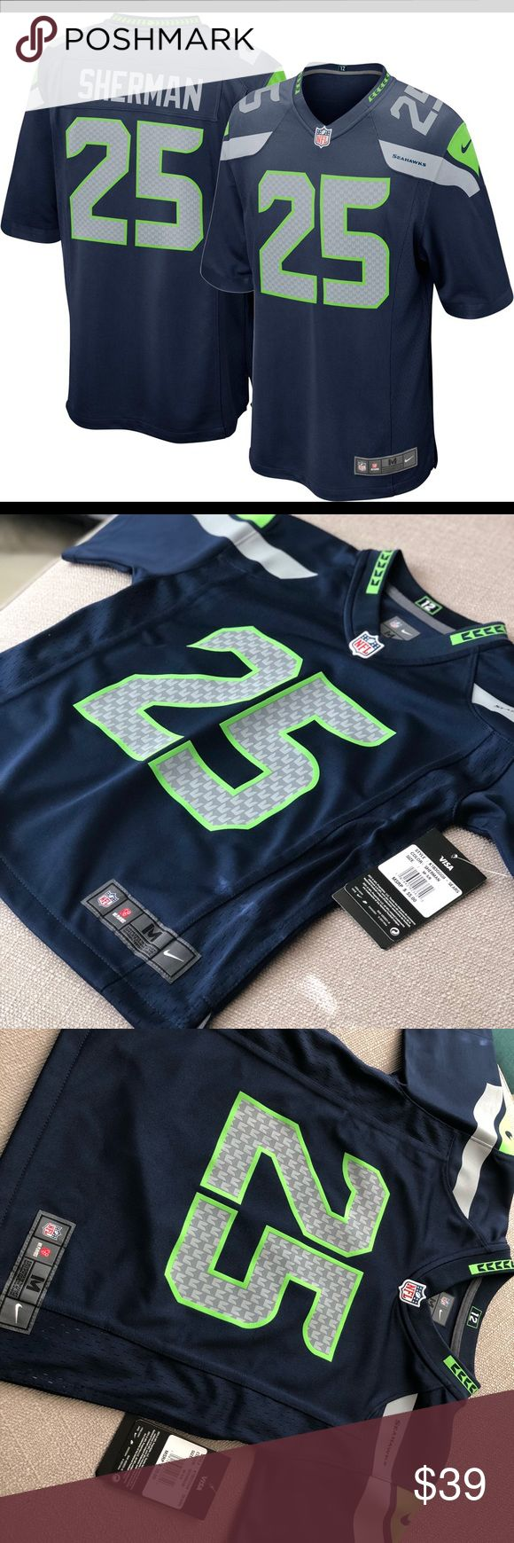 Nike Youth Jersey Seattle Seahawks Sherman #25 - Water-repelling fabric to help keep you stay lightweight and dry - Tailored fit for comfort - Flexible twill numbers - No-tag neck label - Stitched player's name, number on chest, back and sleeves - Embroidered nike logo on each sleeve and team wordmarks or logos on chest - TPU metallic-effect shield at V-neck - Laser-cut embossed jock tag - Fabric: BODY: 91% NYLON/ 9% SPANDEX MESH/ 88% NYLON/ 12% SPANDNEX - Strategic ventilation over major…