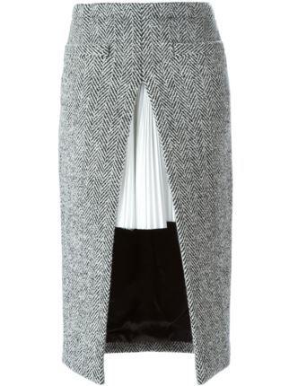 Sacai двухслойная юбка с узором в елочку