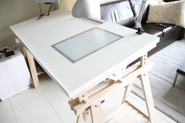 The ikeahacked adjustable angle drawing table drawings ikea table and shelf brackets - Drafting table ikea ...