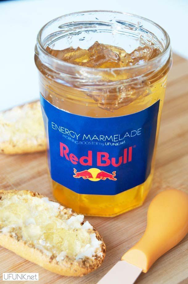 """Energy Marmelade - Morning Booster"", la confiture d'energy drink, se décline en deux versions, la confiture de Redbull et la confiture de Monster ! Rassurez v"