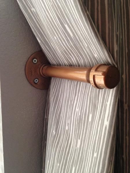 """This curtain tie back is a great piece of home decor and will compliment custom curtains and industrial decor. Window hardware is often the finishing touch to a room and this metal tie back will hold back your industrial curtains in style. The pipe tieback pictured is galvanized steel painted """"hammered copper"""". This curtain holdback uses 1/2"""" galvanized pipe and measures 7"""" Long and 3"""" wide. This listing is for one tie back and multiple are available through the drop down option list. The p"""