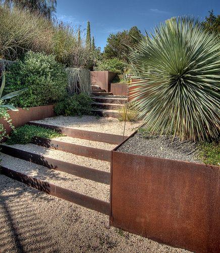 corten planters and steel landscape edging by Austin Outdoor Studio