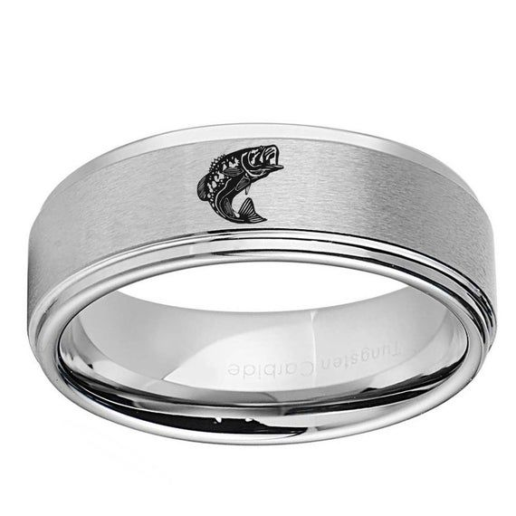 Personalized Engraved Black Silver X Dome Mens Wedding Ring or Promise Ring