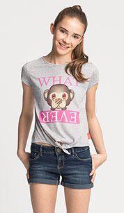 Emoji-T-shirt met korte mouwen in lichtgrijs mix