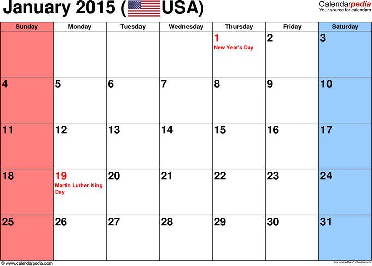 Blank January 2015 calendar