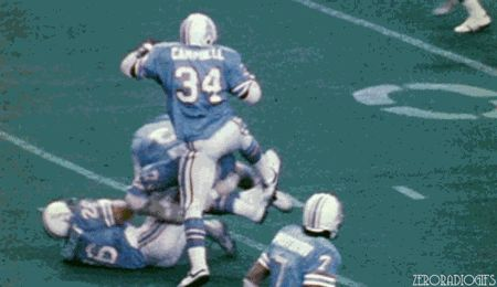 Earl Campbell in mind mind was the greatest Power Running Back in NFL History. This is just one of the painful trucks he has ever delivered.