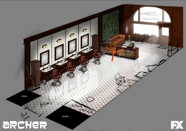 """From Chad on Twitter - chadhurd83  """"May 12 Or this super cool Barbershop by"""" @NealHolman @ArcherFX"""" #ArcherFX #ConceptArt"""