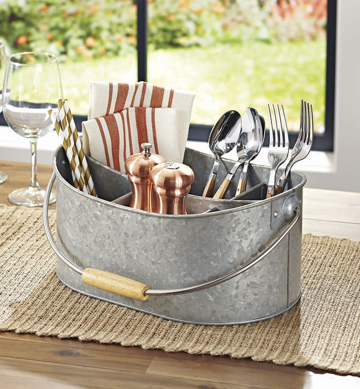Better Homes and Gardens Galvanized Steel Utensil Caddy, Set of 2
