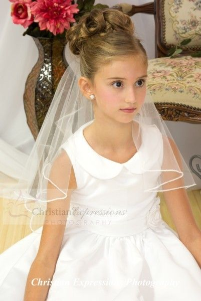 First Communion Two Tier Veil with Pearl Trim - Bridal Wedding Veils | First Communion Veils