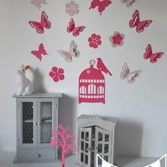 Stickers cage oiseaux papillons fleurs et oiseaux rose - Stickers papillon chambre bebe ...