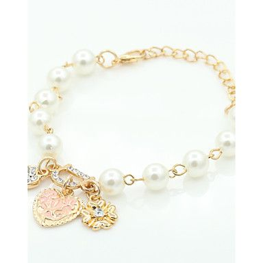 Fashion+Sweet+Elegant+Pearl+Bracelet+Jewelry+Charm+Alloy+Rhinestone+Flower+Heart+Pendent+Bracelet+For+Women+Wholesale