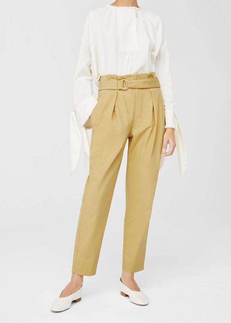 Belt cotton-blend pants | MANGO