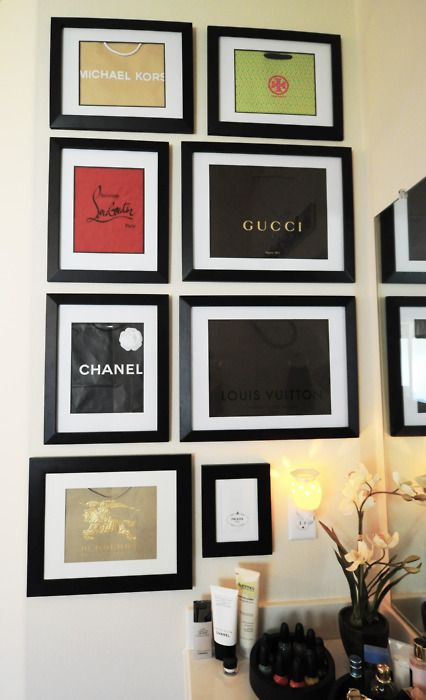 wall of couture...diy with bags from designer boutiques!