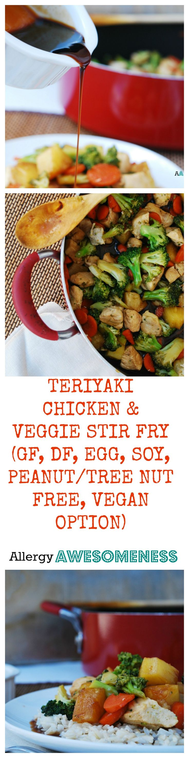 A homemade, gluten-free teriyaki sauce that only needs 7 ingredients and 5 minutes will cover all of your chicken and veggies in a sweet, yet tangy glaze. Serve over brown rice and you've got your protein, veggies, fruit, and carbs all in one convenient and tasty dish. By Allergy Awesomeness