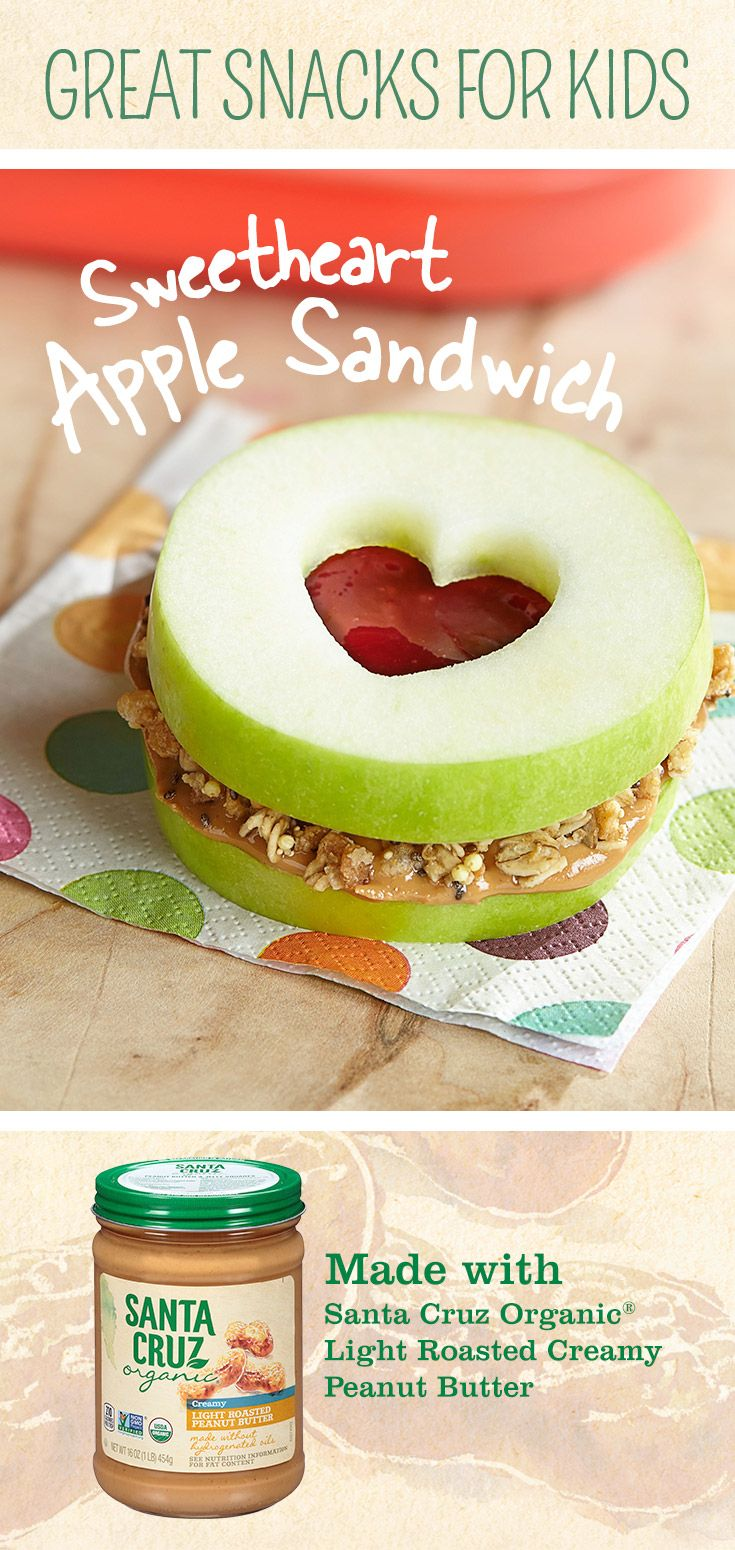Turn this snack into a gift that sends a sweet message with this fun twist on a simple sandwich. Begin by spreading some Santa Cruz Organic® Peanut Butter between two slices of fresh apple. Use a cookie cutter to cut a shape into the top and you're sure to bring a smile to the face of anyone that bites into this scrumptious sandwich.