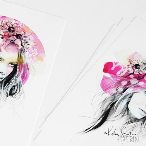kelly smith x erin flannery - limited edition print collaboration..... FOR SALE NOW!! > www.erinart.bigcartel.com or www.birdyandme.bigcartel.com!  #kellyxerin