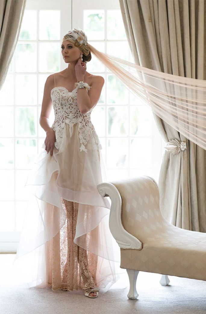 Lace and Short/ Long in blush and white