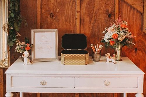Our vintage white wooden desk works wonderfully as a note writing station for Lally and Kyle's wedding guests! *Paisley & Jade vintage & Eclectic Furniture Rentals for Events, Weddings, Theatrical Productions & Photo Shoots*