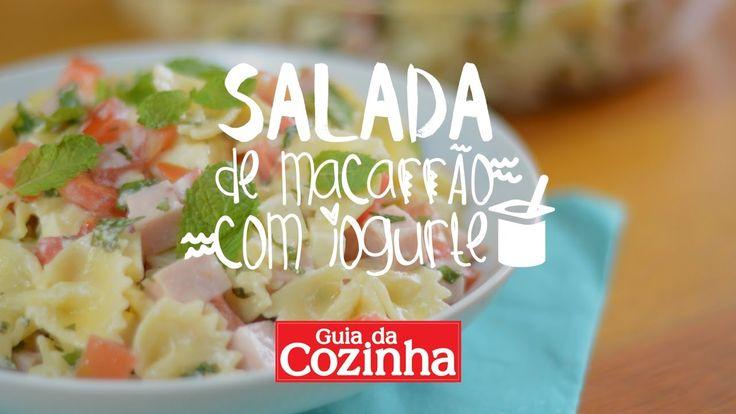 Receita: Salada de macarrão com iogurte Tempo: 10min (+1h de geladeira) Rendimento: 5 porções Dificuldade: fácil 1 pacote de macarrão gravatinha cozido (500g...