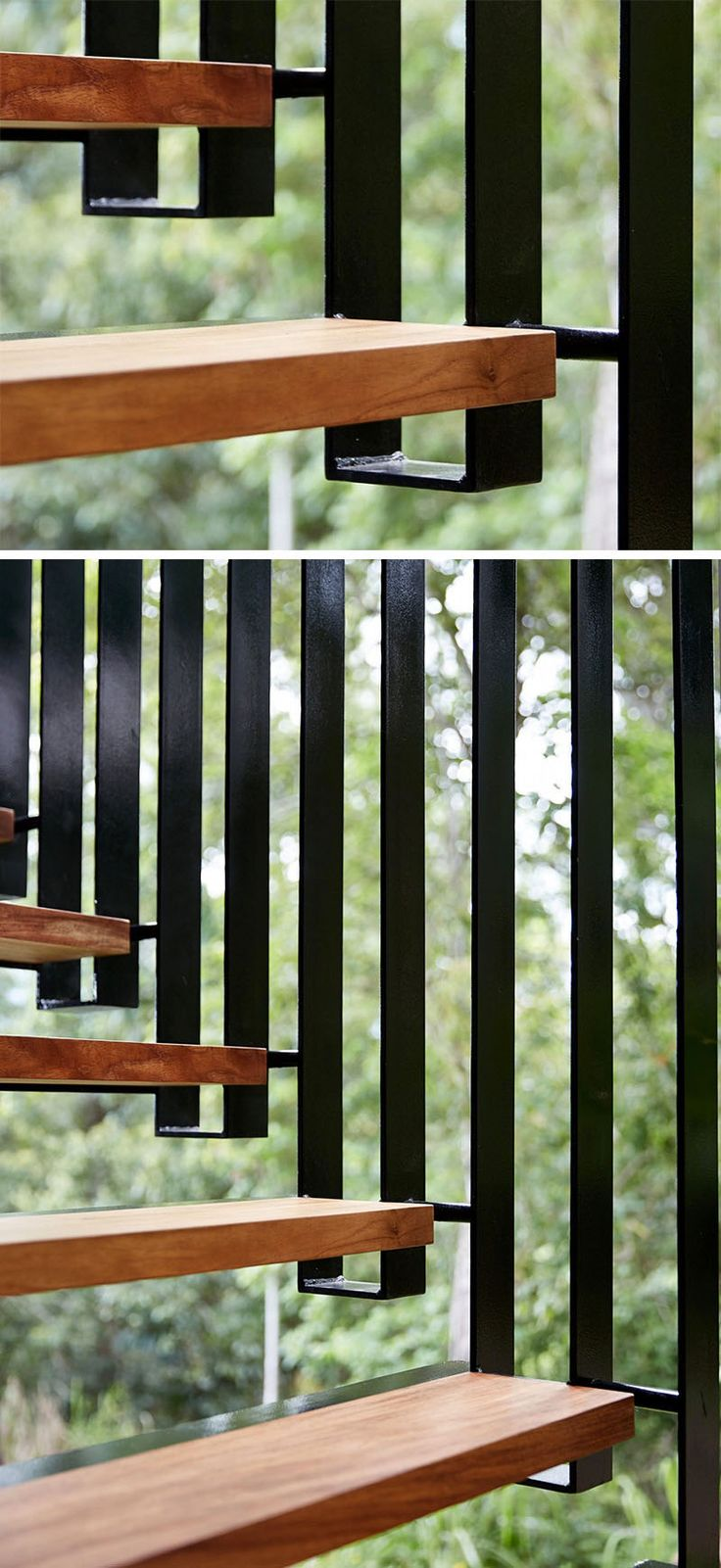 18 Examples Of Stair Details To Inspire You // Thin treads and a unique black steel railing add an interesting element to this tropical home.