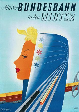 By Train in Winter.  German railways skiing poster.   http://www.vintagevenus.com.au/products/vintage_poster_print-tr259