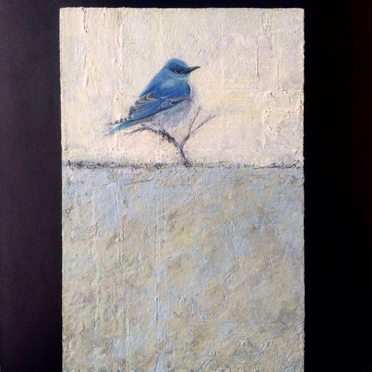 acryl painting on wood bird 2   mountain bluebird 20 x 30 cm 2016