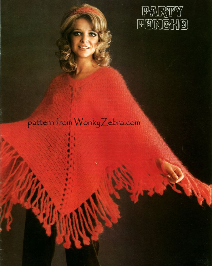 WZ913 Fab vintage crochet poncho pattern, in fluffy Jaeger mohair. it has a  fringe detail of chained loops with little flower/circles to  pattern from WonkyZebra.comswing around.very pretty and girly.