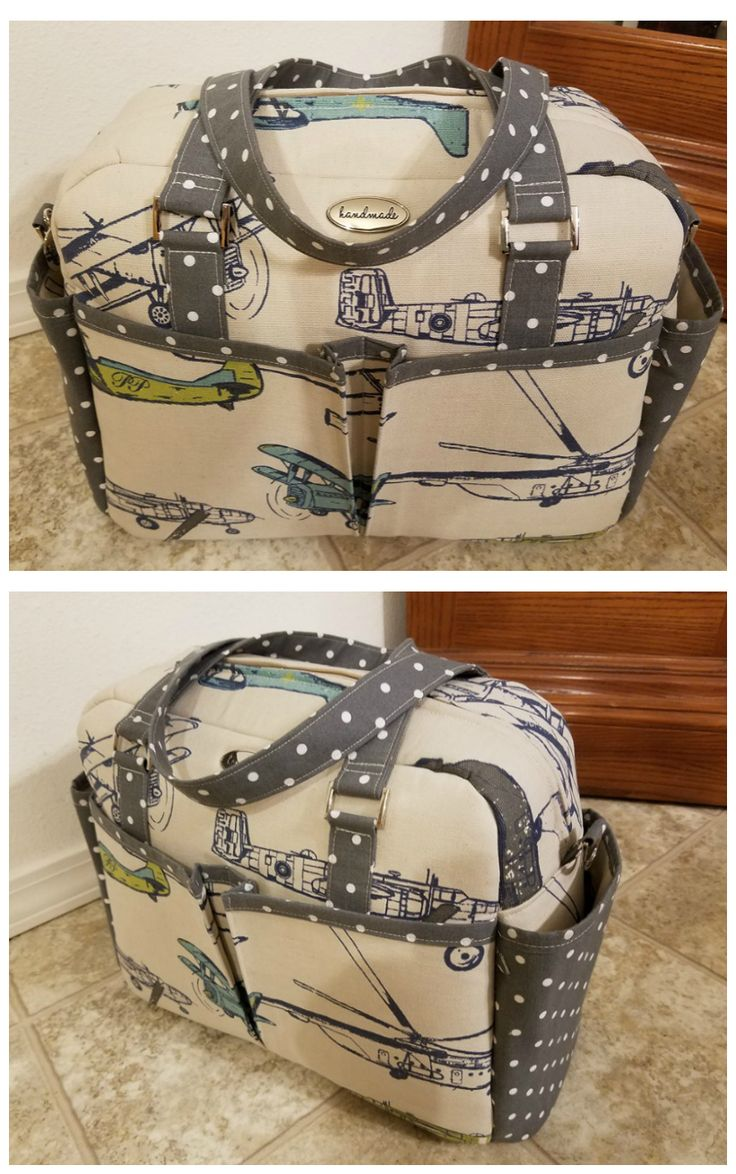 Awesome diaper bag sewing pattern.  Handles, shoulder strap and even stroller straps to sling the bag from the handles.  10 pockets - this diaper bag sewing pattern has everything!  Photos by Kathy Waterbury