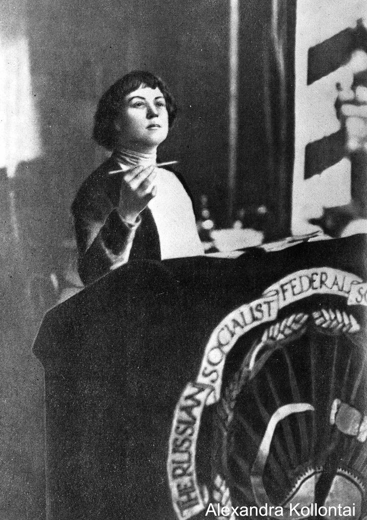 Alexandra Kollontai (Rússia, 1872-1952). Bolshevik feminist and spokesperson for the Workers' Opposition. In a relationship with Shlyapnikov from 1911 to 1916. Biographers of Kollontai in English include Barbara Evans Clements, Beatrice Farnsworth, and Cathy Porter.