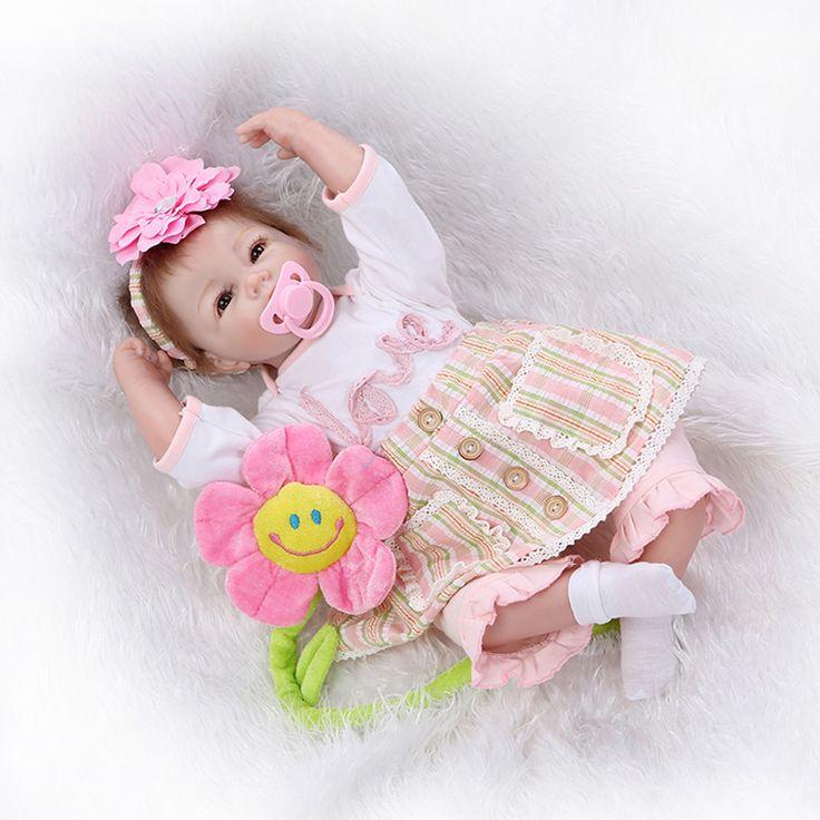 Newborn Silicone Bebe Reborn Girls Dolls Lifelike Vinyl Girls Babies Birthday Gift Present for Child Early Education Bedtime Toy