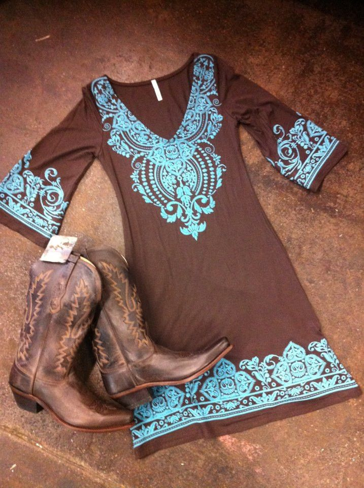 SOUTHERN BELLE V-NECK DRESS BROWN AND TURQUOISE