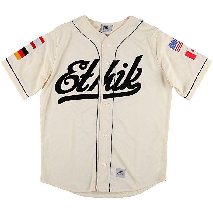 Ethik Herren World Class Baseball Jersey Cream Shirt, Größe XL