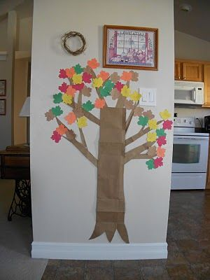 Fall tree on the wall - each leaf has a fall activity listed on it.    Drink apple cider    Make apple donuts    Make all day apple butter    Make a pumpkin latte (as good as a certain coffee shop's, if possible)    Roast pumpkin seeds    Make candy corn    Make owl cookies    Try a new squash dish    Make gingerbread men - for the first snow      Fall Family Movie Nights        Winnie ...