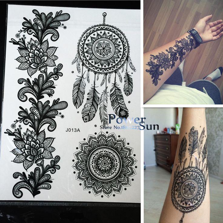 1PC Hot Dreamcatcher Large Indian Sun Flower Henna Temporary Tattoo Black Mehndi Feather Style Waterproof Tattoo Sticker PBJ013A