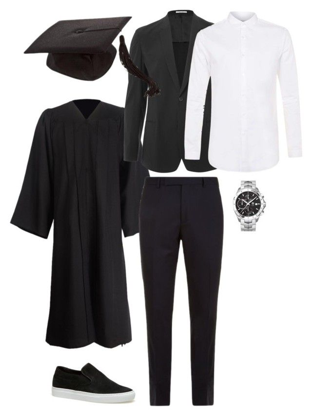 """graduation"" by ksasya on Polyvore featuring Paul Smith, Topman, Lacoste, TAG Heuer, men's fashion, menswear, blackandwhite, 2016 and graduationdaydress"