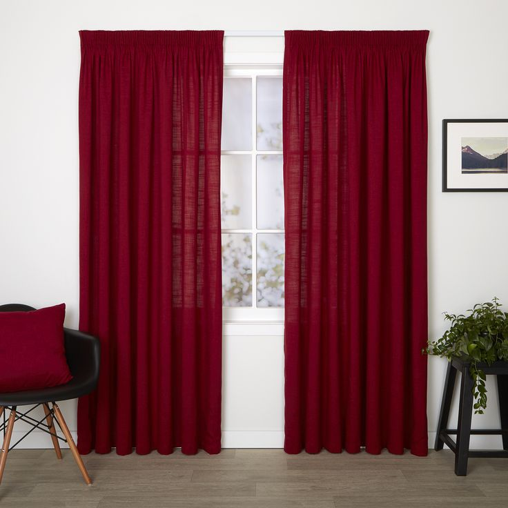 Darcie Chilli - Readymade Unlined Pencil Pleat Curtain - Curtain Studio buy curtains online