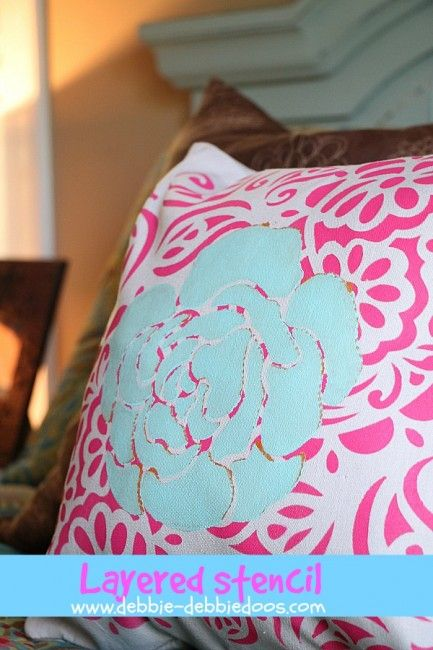 Tulip for your home stenciled pillow - Debbiedoo's