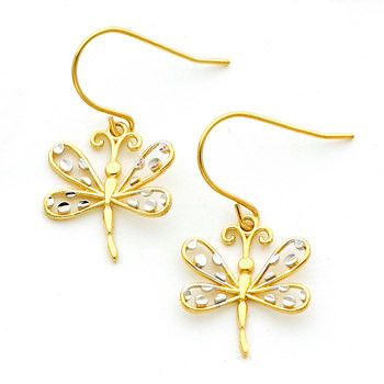 14Kt gold Two-tone Dragon Fly Fish Hook Earrings