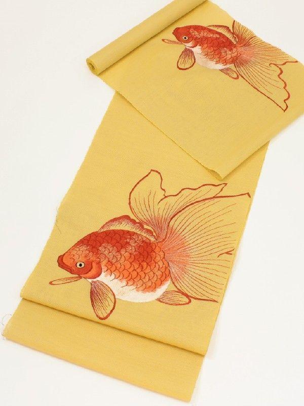 日本刺繍による帯:金魚 Japanese embroidered goldfish obi