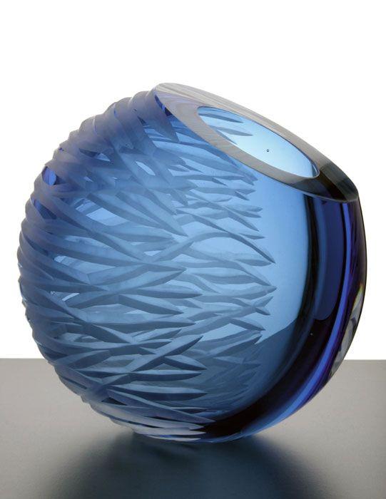 """oblique"" ~ Joanne Mitchell art glass blue"