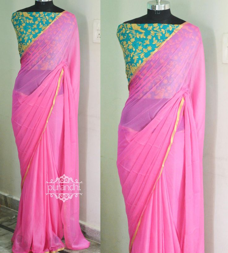 BOOKEDBaby Pink Pure Chiffon saree paired up with Sea green Heavy Parrot embroidery worked Blouse.PD-PS01For more details please contact us through whats app : 9063534017 or Email : purandhistore@gmail.com 03 March 2017