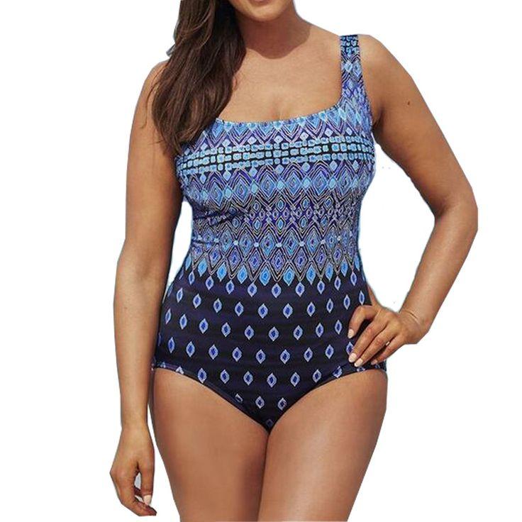 New Women Swimwear One piece Sexy Print Swimsuit Swim Bathing Beach Suits Bodysuits Sport Tracksuit Blue Plus Sizes 5XL