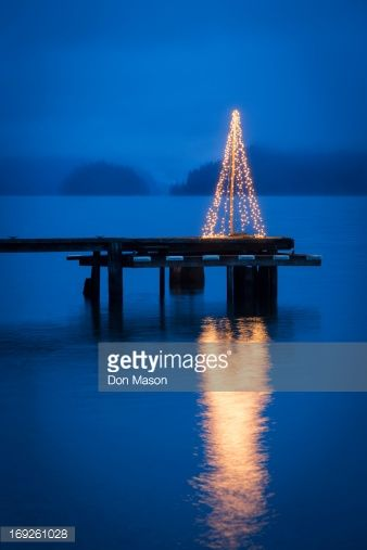 Stock Photo : String of lights in tree shape on wooden pier
