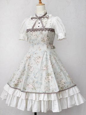 Victorian Maiden - Antique Rose Puff Sleeve Dress. Classic Country Lolita Gothic.