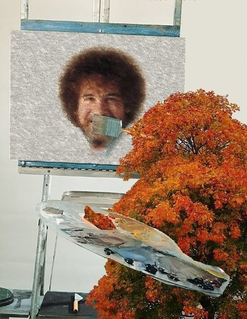Bob Ross, as painted by a happy little tree..and its happy little branches painted his happy little hair..