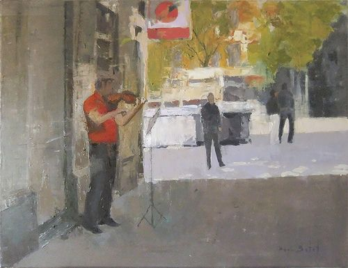 Música al carrer_Óleo sobre tela, 81X65 cm. No disponible Not available