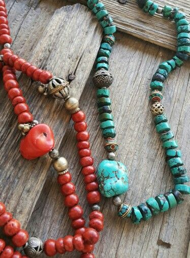 1.Turquoise, Silver, Afghan Beads. And 2.Coral, Silver