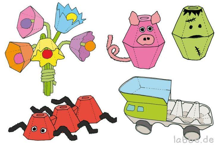 Eierkartons oder Eierpaletten, ein wenig Farbe, Klebstoff und Fantasie - mehr braucht man nicht! 20 witzige Anleitungen und Ideen zum Basteln von originellen Tieren, Lastwagen, Masken, Blumen und vielem mehr.