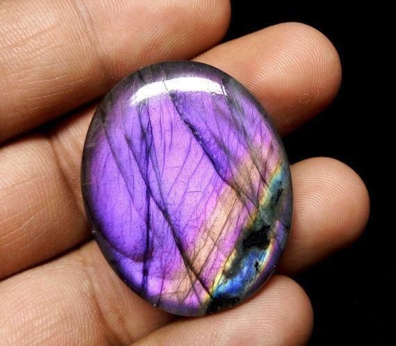 Beautiful Purple Flash Labradorite Oval Shape Cabochon